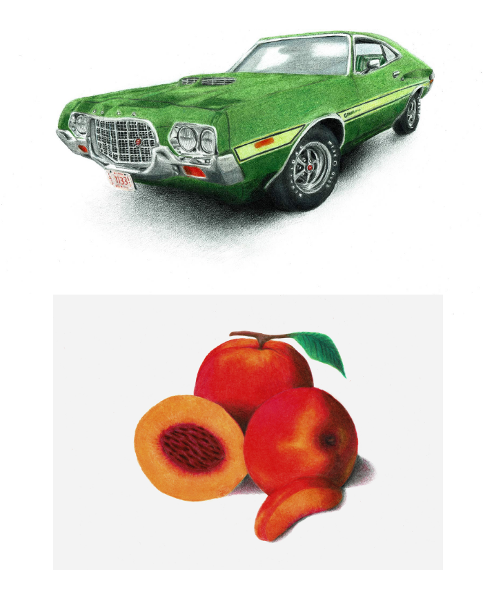 Prismacolor Pencil Drawings of a Gran Torino and Peaches